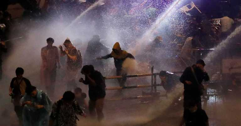 Watch: Thailand police disperse protesters with water cannons filled with stinging liquid