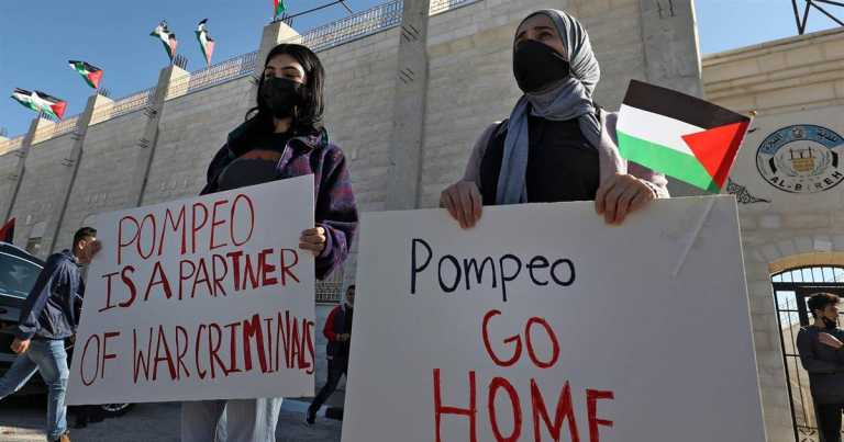'An illegal act': Protesters condemn Pompeo's West Bank settlement visit