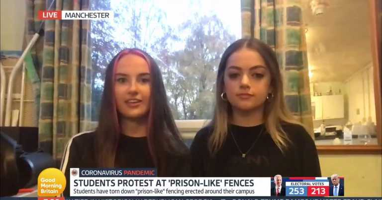 Manchester students say they 'felt encaged' by fences in GMB interview