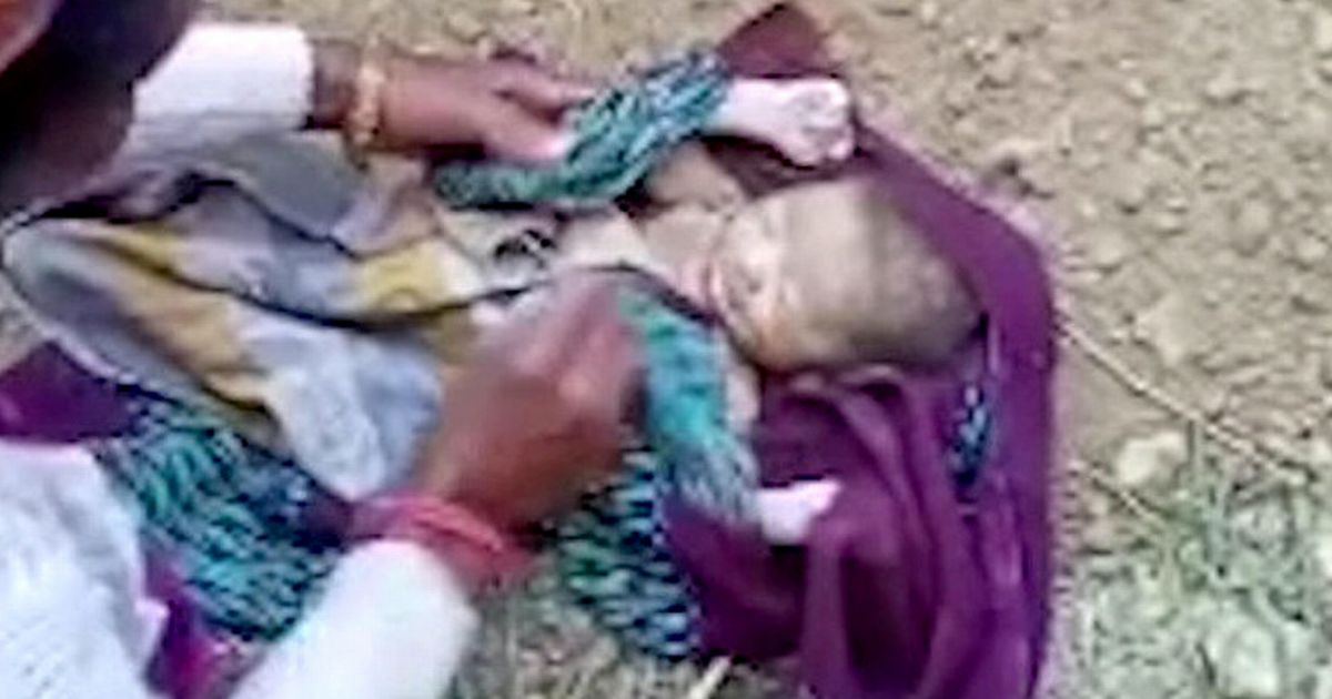 Newborn baby is rescued by shocked locals after being buried alive in field
