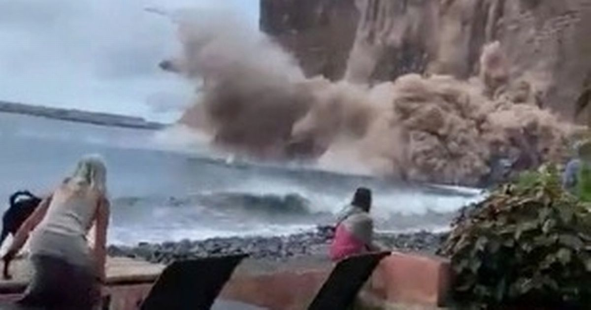 Terrifying moment cliff collapses on Canary Islands beach as emergency declared