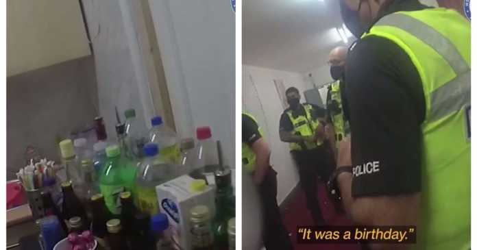 Watch - Police raid packed party discovering balloons and booze
