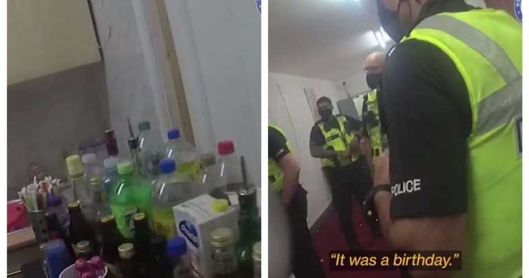 Watch – Police raid packed party discovering balloons and booze