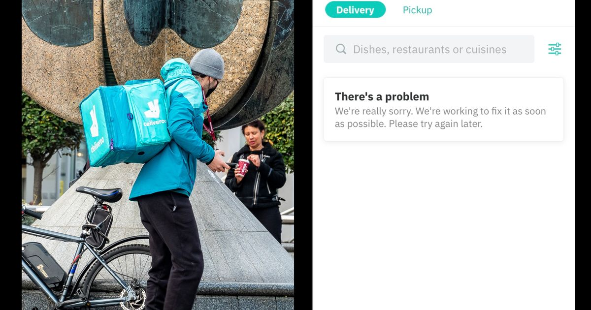 The app for Deliveroo is suffering a technical glitch and no one can order