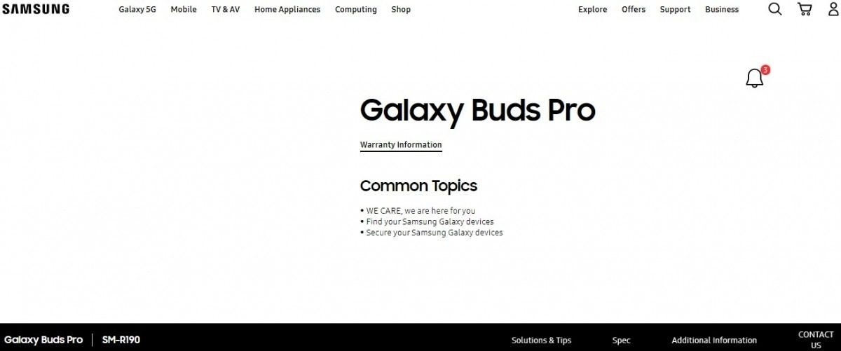 Galaxy Buds Pro name appeared on Samsung's website 1