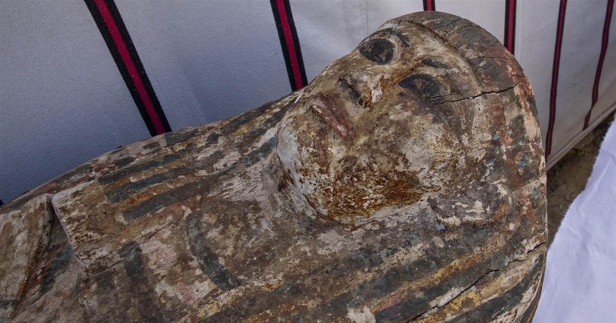Ancient Egyptian artifacts unearthed near Cairo including mummies and sarcophagi