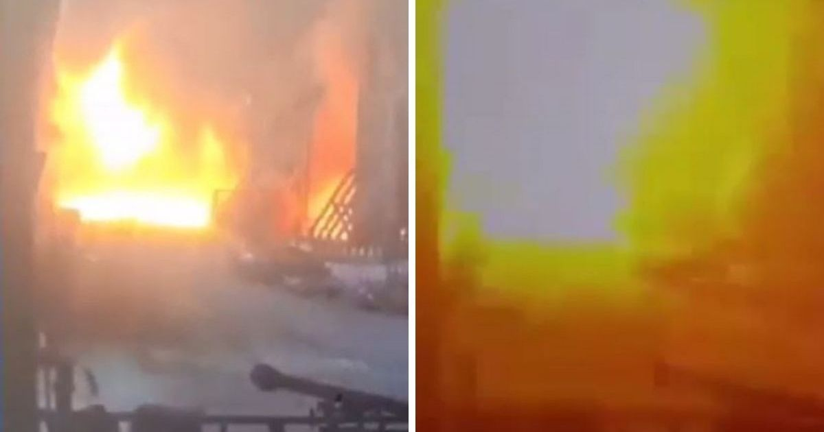 Explosion at steelworks caught on security camera