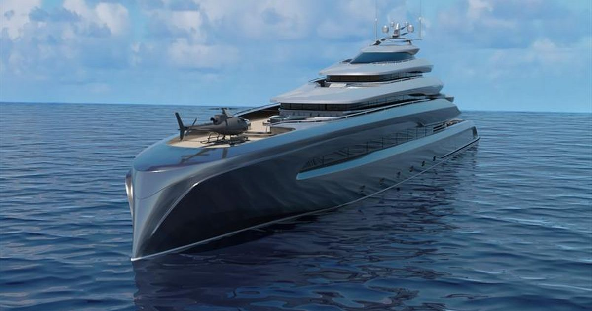 Huge luxury megayacht has its own gym, pool, helipad and even an exclusive beach