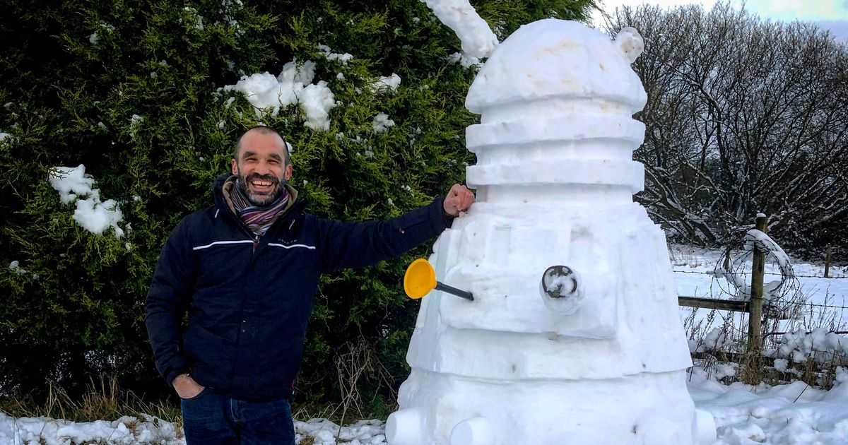 Maths teacher painstakingly builds impressive 7ft Dalek snowman