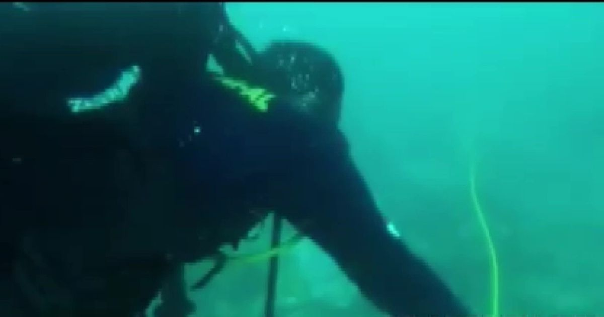Wreckage of Indonesia plane seen underwater including child's Marvel backpack