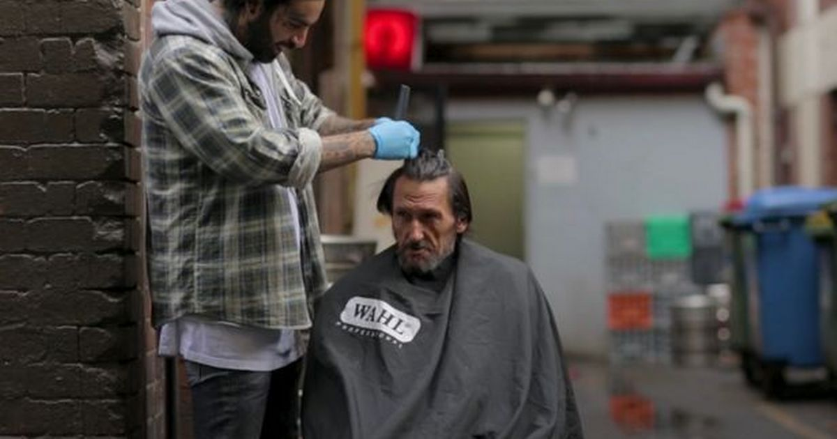 Before and after photos show transformation of homeless man given free makeover