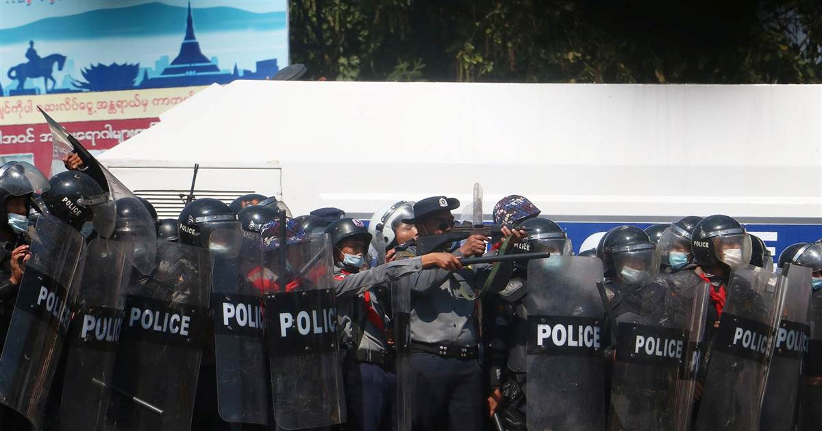 Gunfire heard at protest against Myanmar's military coup