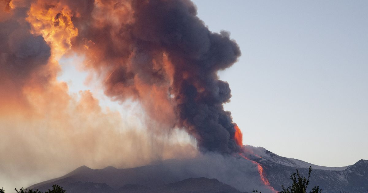 Mount Etna erupts in incredible fiery blaze as airport forced to close