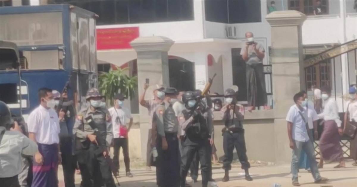 Police fire shots in the air to disperse protesters in Myanmar