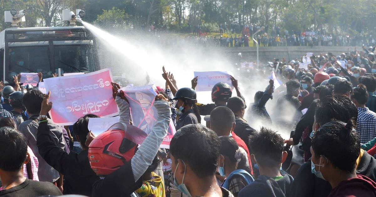 Police use water cannon as protests against Myanmar's military coup escalate