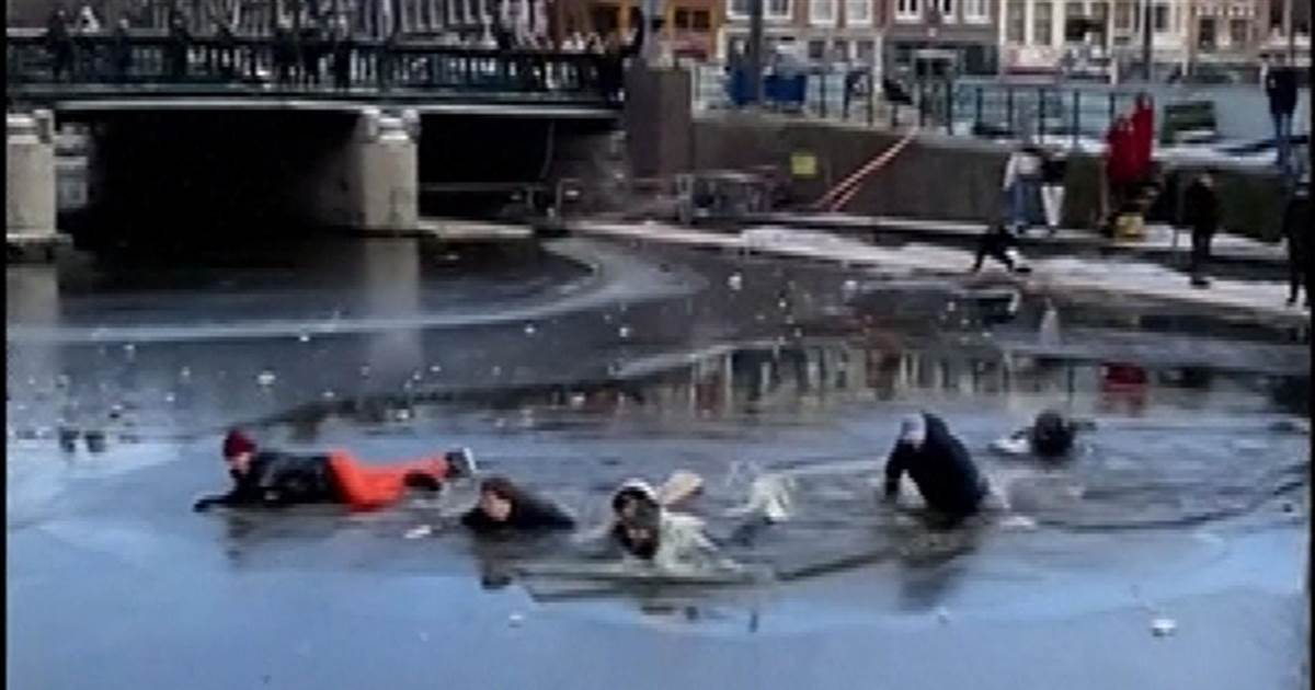 Watch: Skaters rescued from Amsterdam canal after falling through ice
