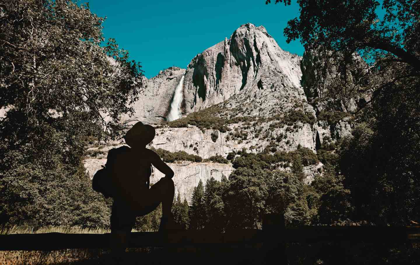 A hiker in Yosemite National Park