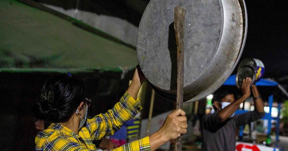 Yangon residents use pots and pans to protest Myanmar coup