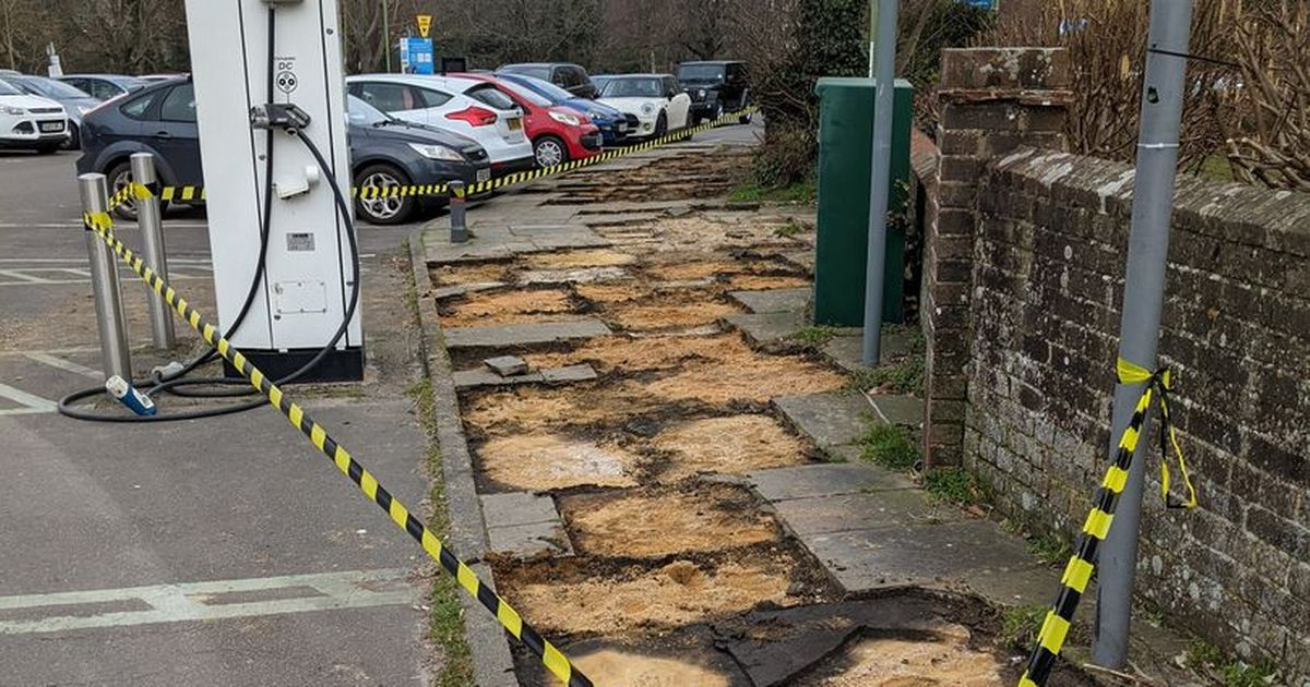 Confusion as 'entire pavement' disappears from Sussex car park