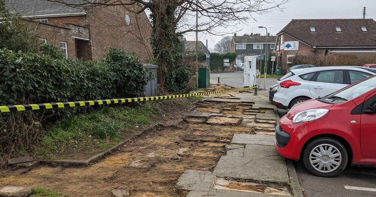 Confusion as 'entire pavement' stolen from West Sussex car park