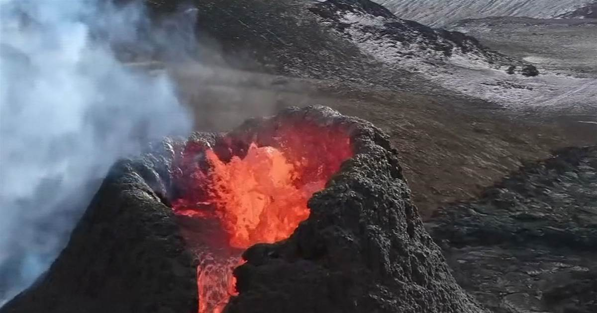 Drone video shows bubbling lava inside Iceland's fiery volcano