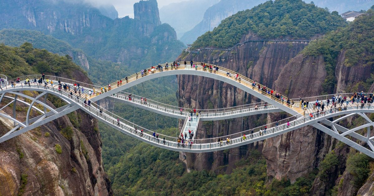 Glass 'bending' bridge in China so scary people thought it was fake