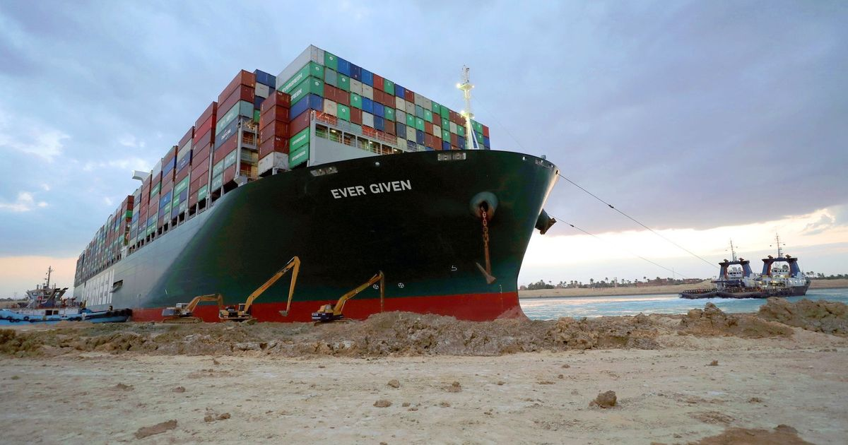 Huge container ship Ever Given stuck in Suez Canal moved 'by nearly 100ft'