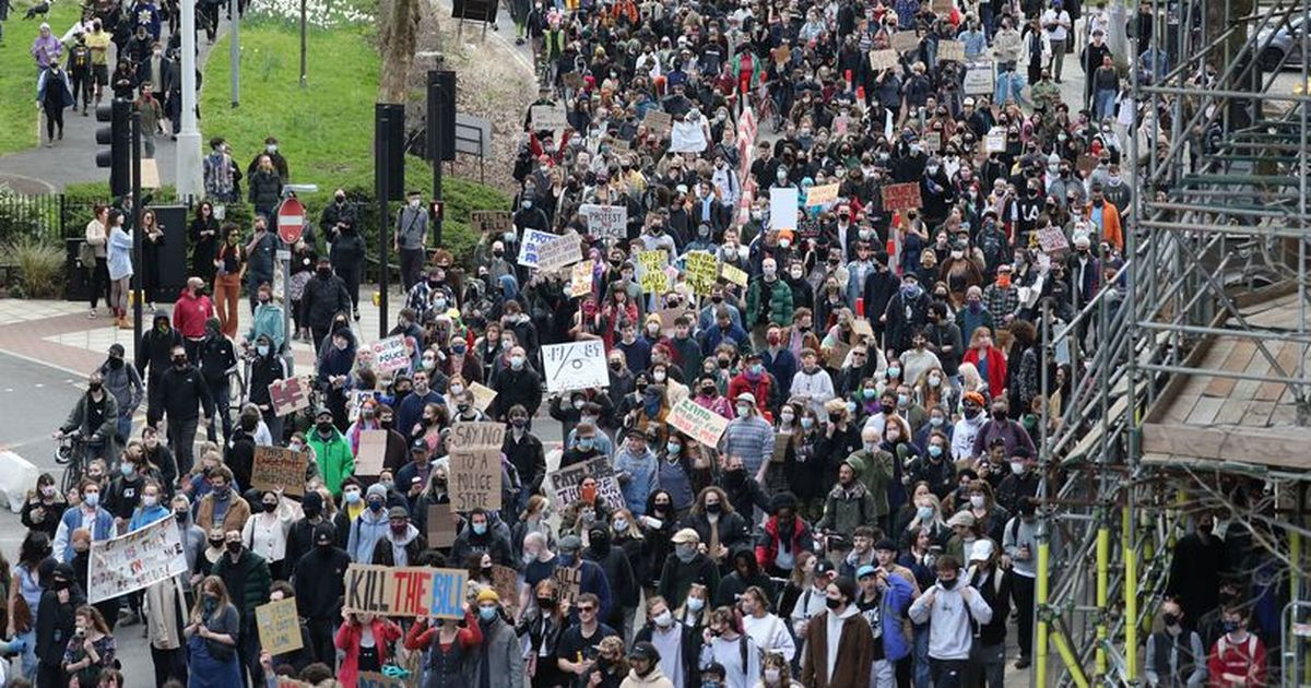Hundreds gather for protest against increased police powers
