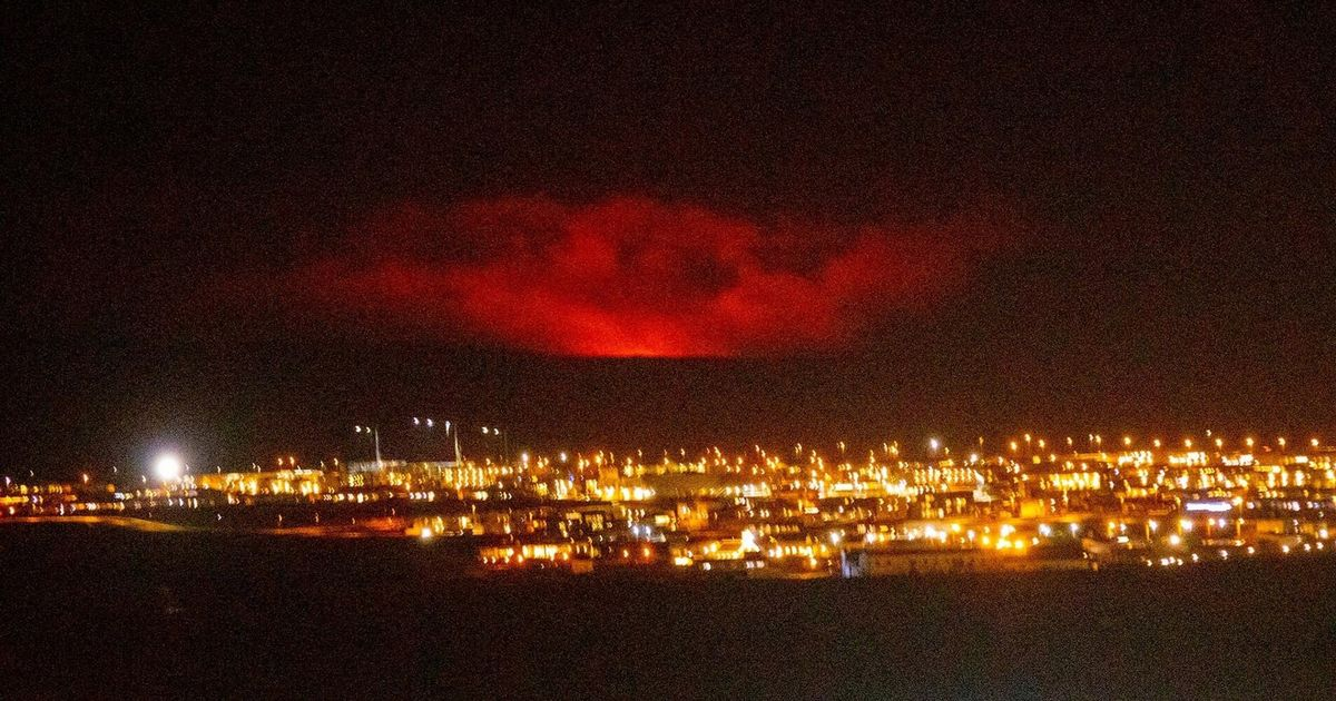 Iceland volcano erupts spewing molten lava into skies as red glow seen for miles