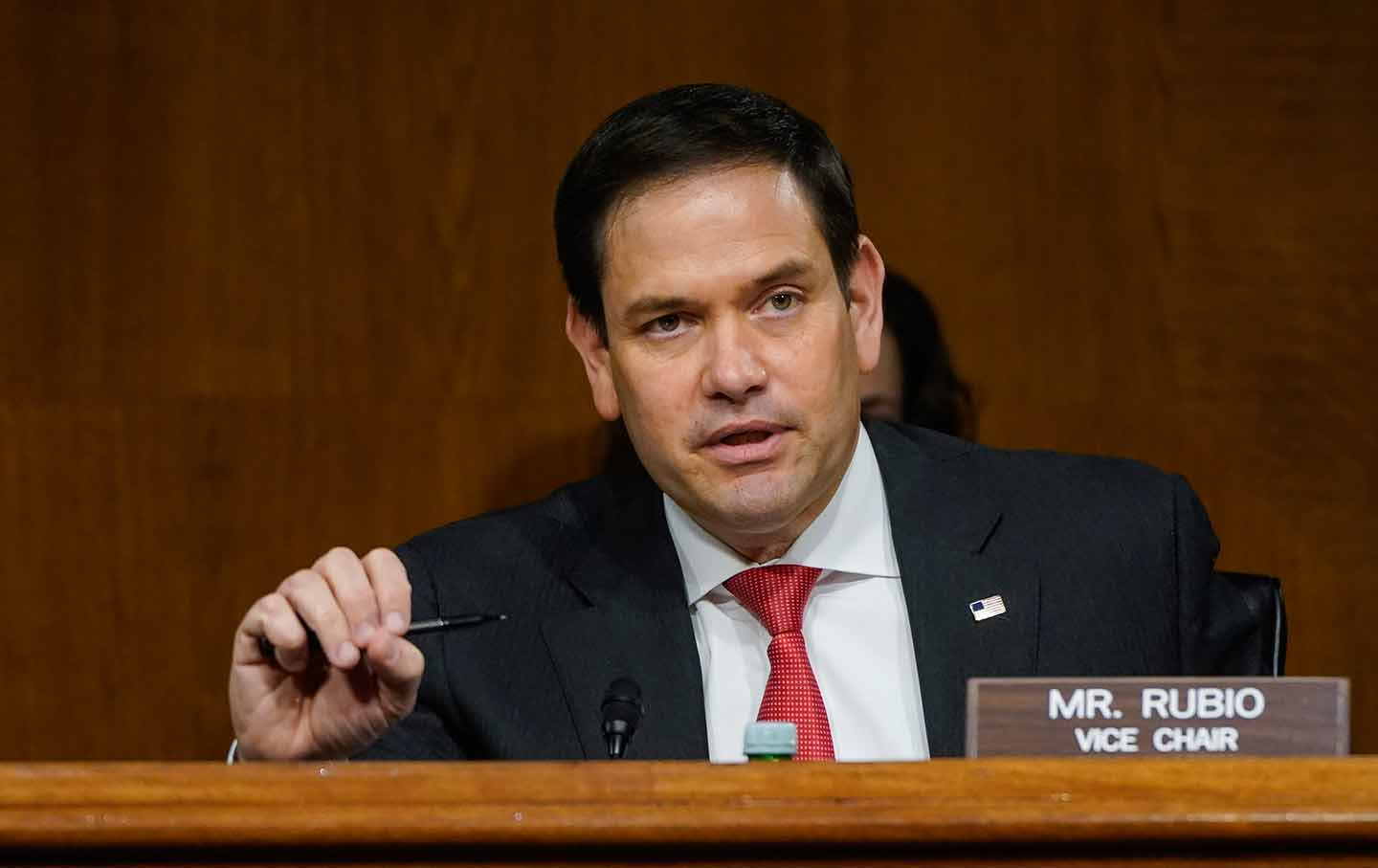 Sen. Marco Rubio, R-Fla., speaks during a Senate Intelligence Committee hearing on Capitol Hill on Tuesday, Feb. 23, 2021 in Washington. (Drew Angerer/Photo via AP)