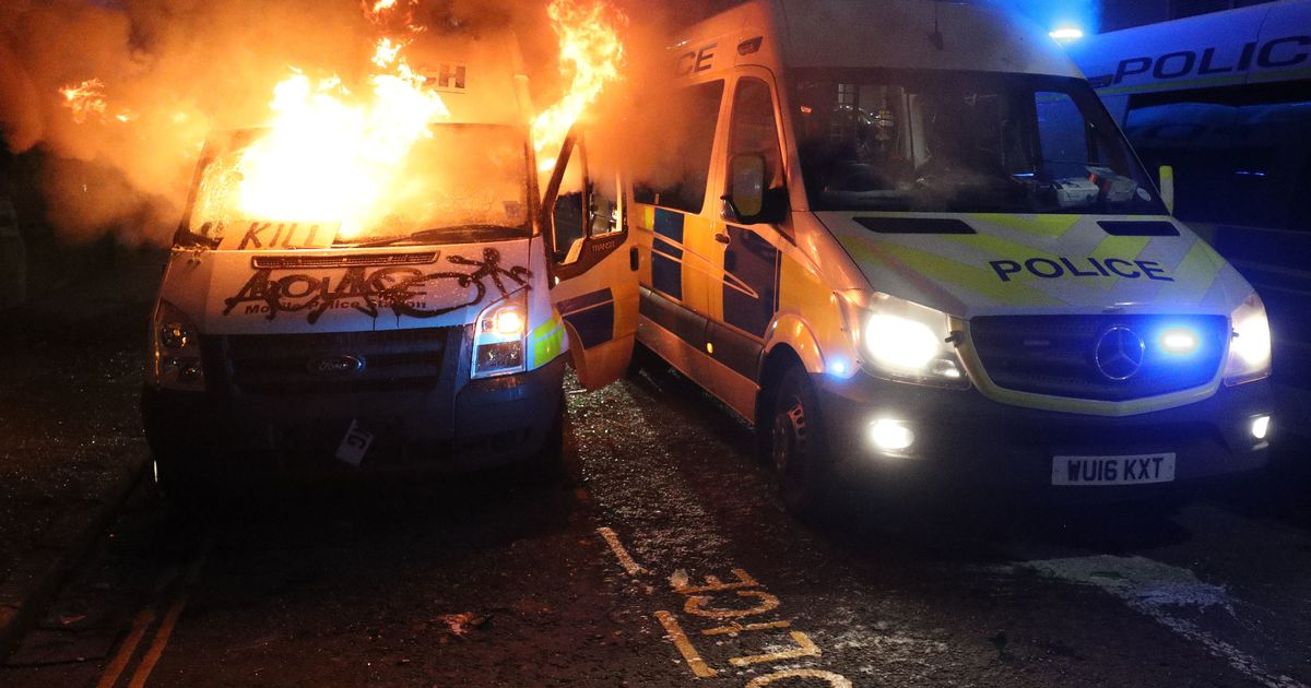 Violent scenes and arson as protesters clash with police in Bristol