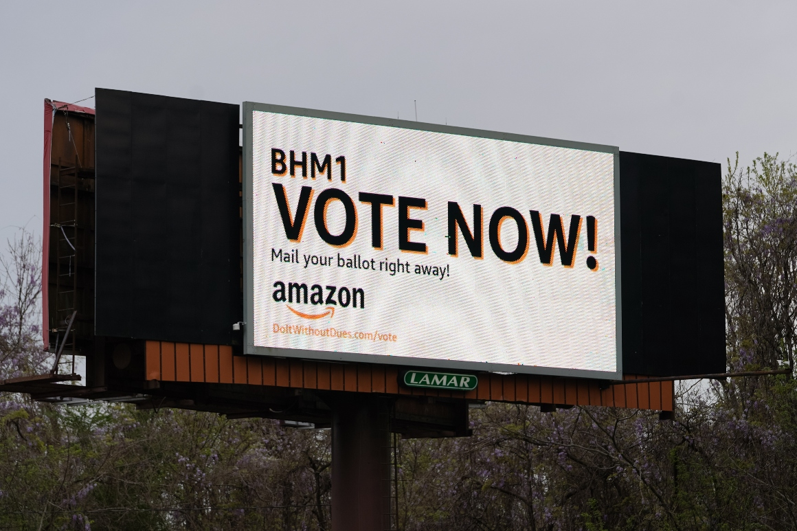 Amazon workers' bid to unionize Alabama facility headed for defeat