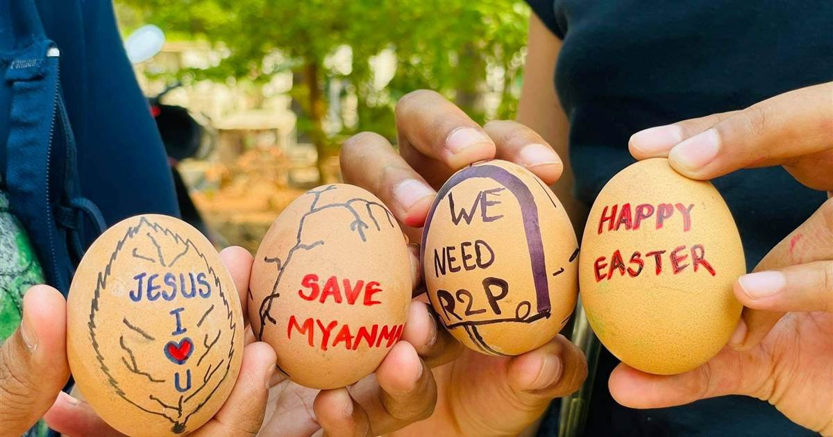 Easter eggs become symbol of defiance for Myanmar protesters