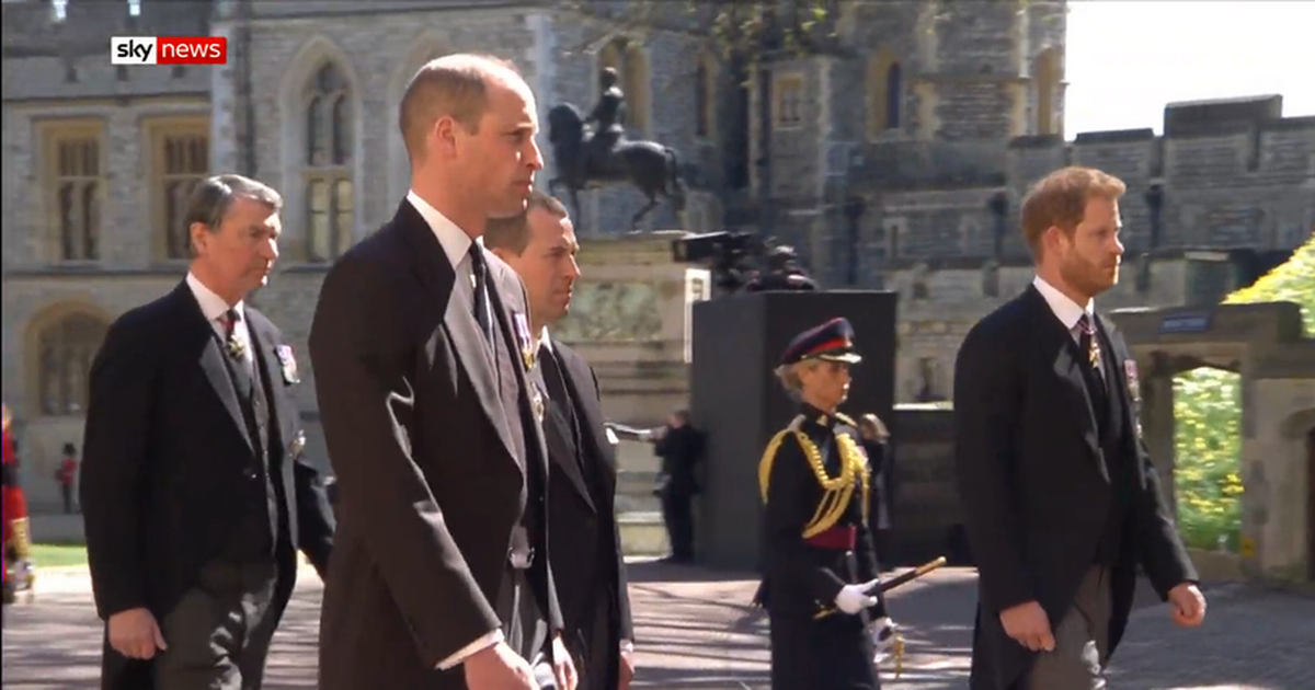 Harry and William separated as they reunite at Prince Philip's funeral
