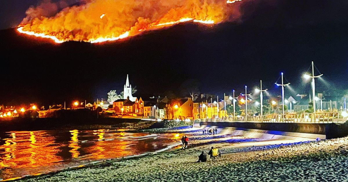 Huge gorse fire being tackled by firefighters in Northern Ireland