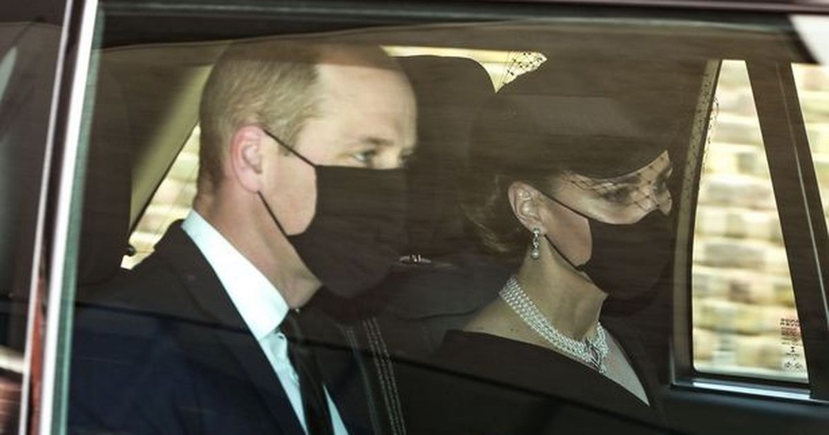Kate Middleton arrives with Prince William at The Duke of Edinburgh's funeral;