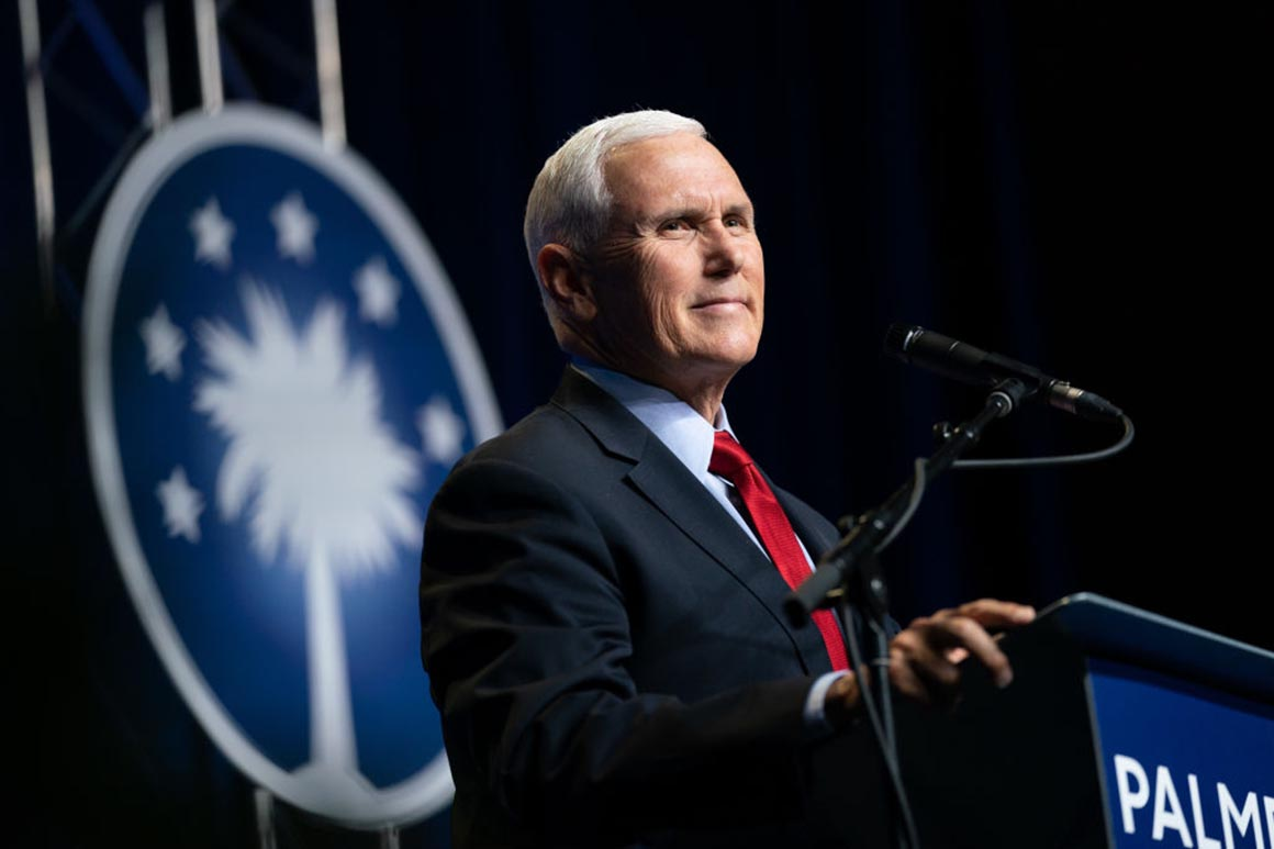 Pence ties himself to Trump, in first public speech since leaving office