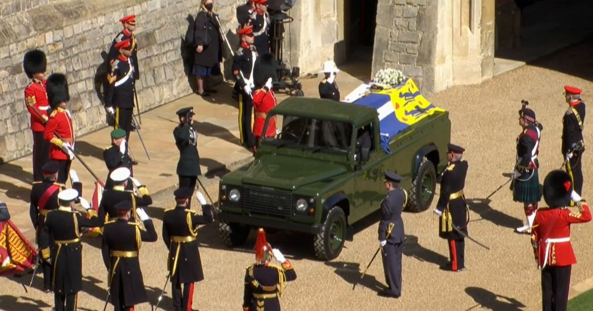 Prince Philip's Land Rover hearse carries coffin at Windsor funeral