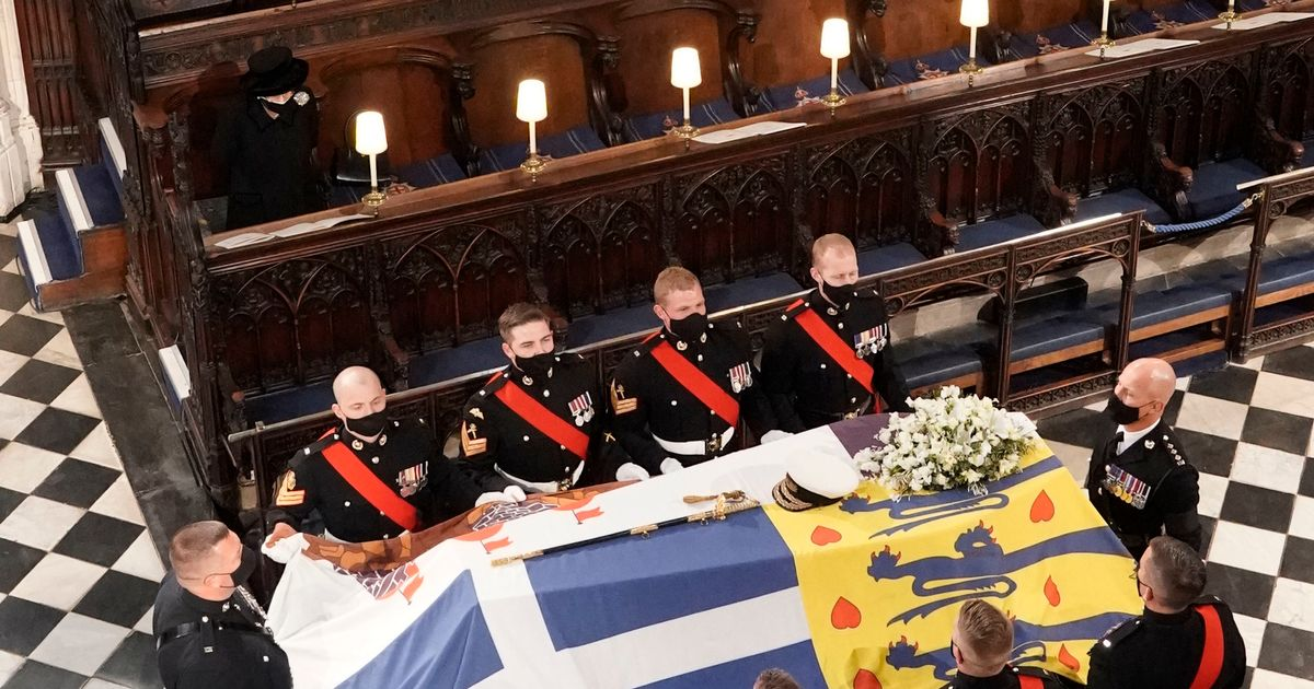 The Queen's signed note with personal touch on top of Prince Philip's coffin
