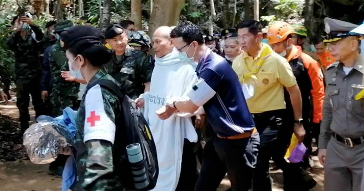 Watch: Thai monk rescued from flooded cave after stepping inside to meditate