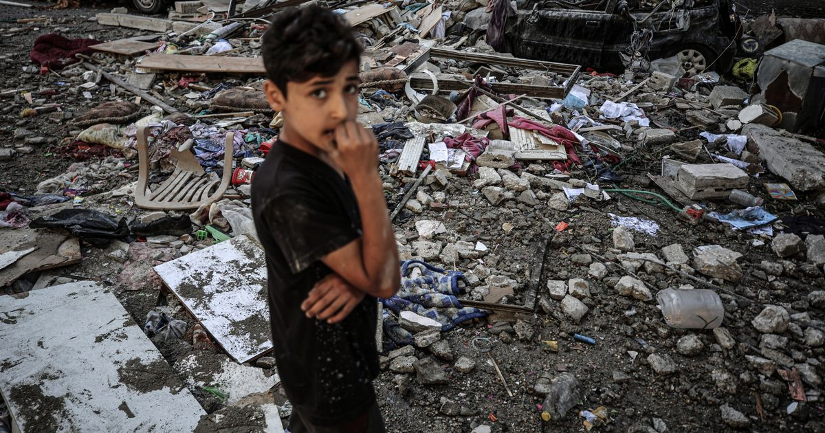 Palestinian boy's pain at seeing little sister cry as bombs kill their friends