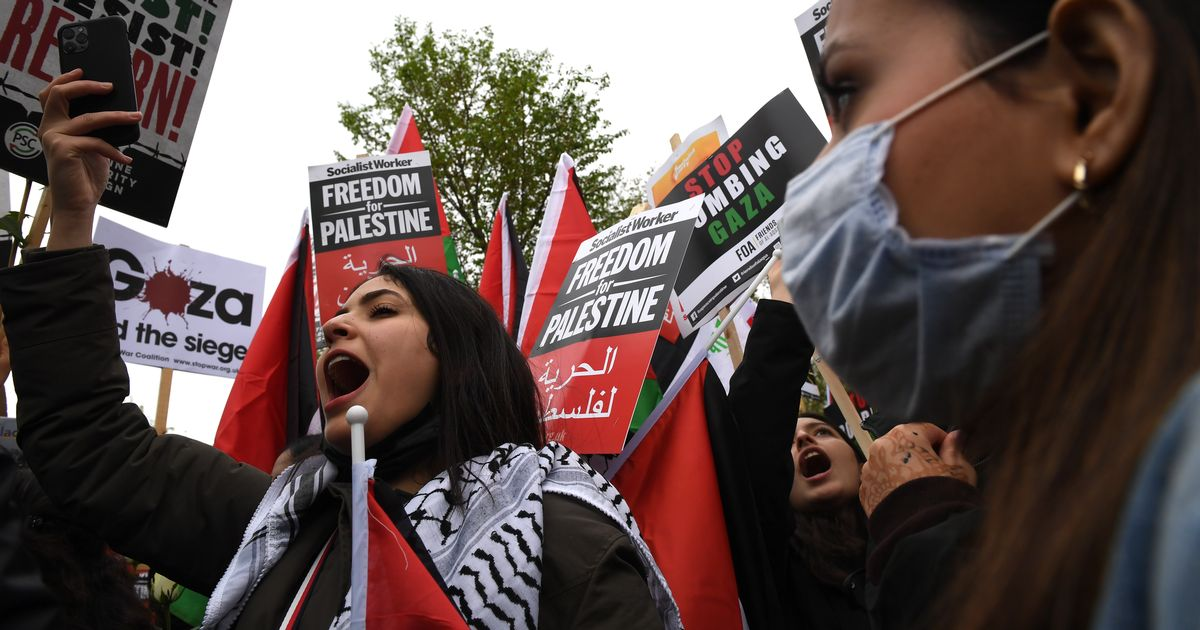 Screams as two injured in crash amid Israel-Gaza protest in London