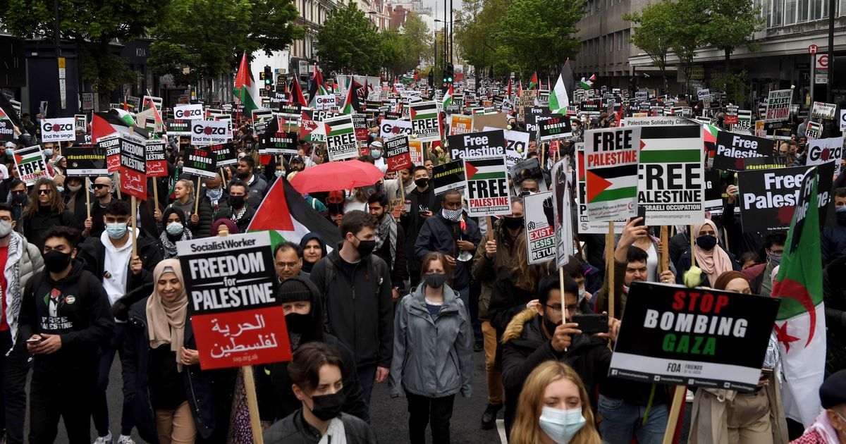 Two people injured in crash amid Israel-Gaza protest in London