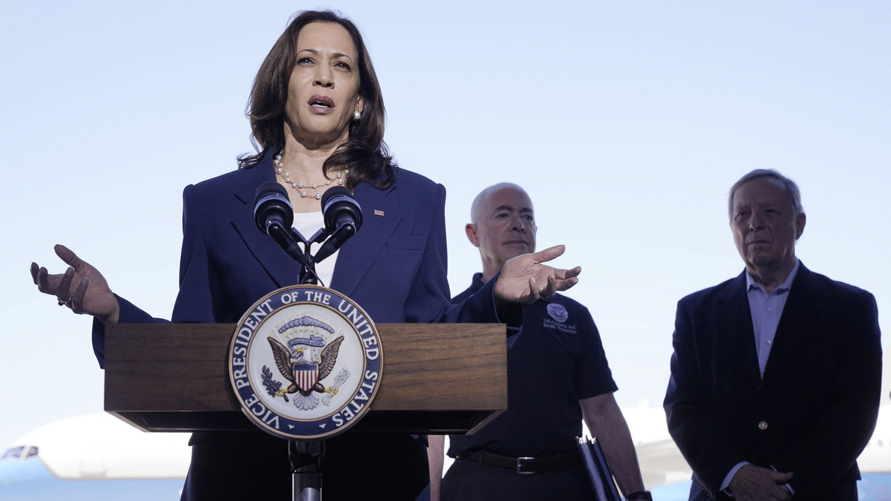 At the border, Harris emphasizes her focus is on 'root causes' of migration