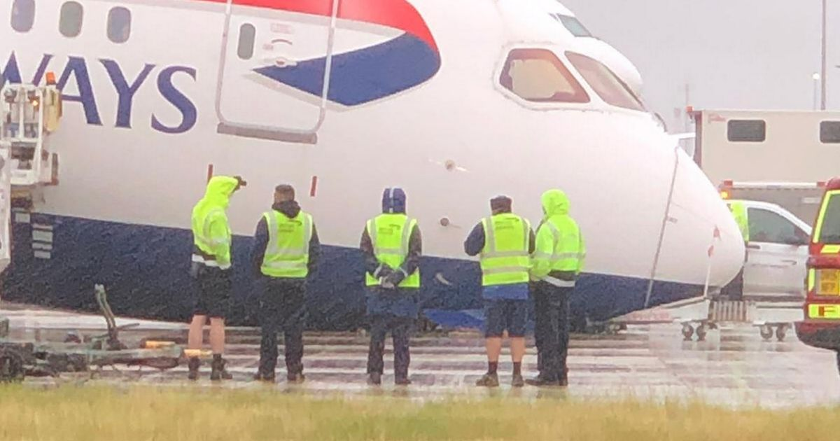 BA jet's nose gear collapses while parked at Heathrow Airport