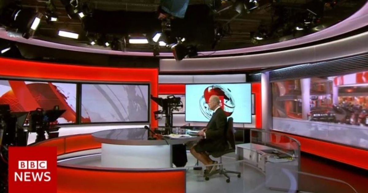 BBC anchor's bare legs spotted as he's caught reading the news in shorts