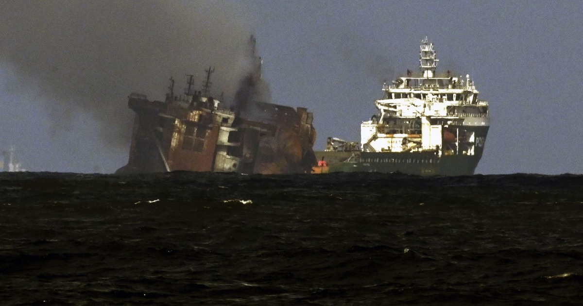 Data recorder recovered as chemical laden ship slowly sinks off Sri Lanka