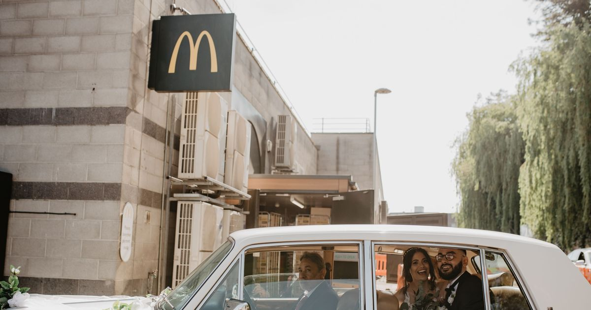 Newlyweds who fell in love on McDonald's dates had drive-thru on wedding day