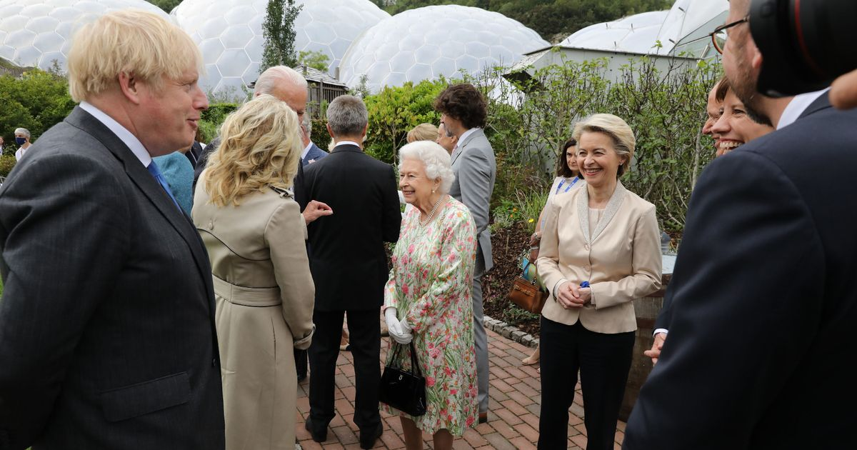 Queen makes joke during G7 photo call making leaders laugh out loud
