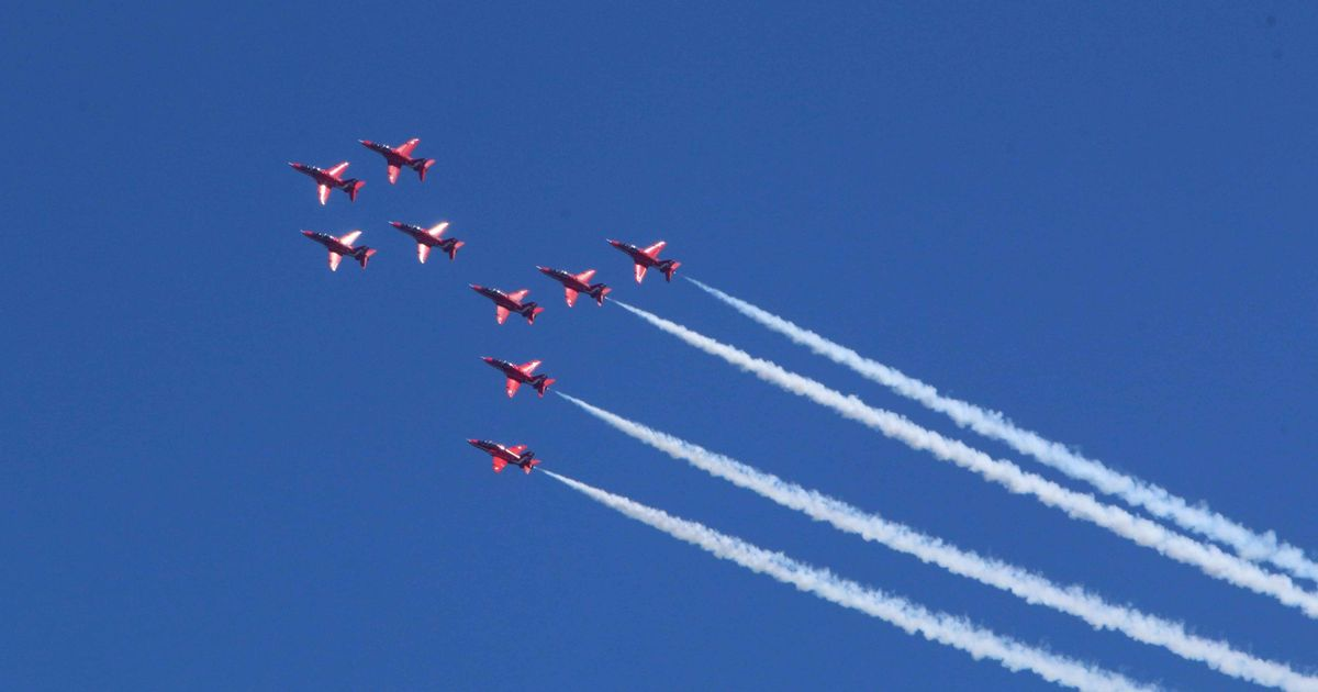 RAF Red Arrows flight path map shows today's route